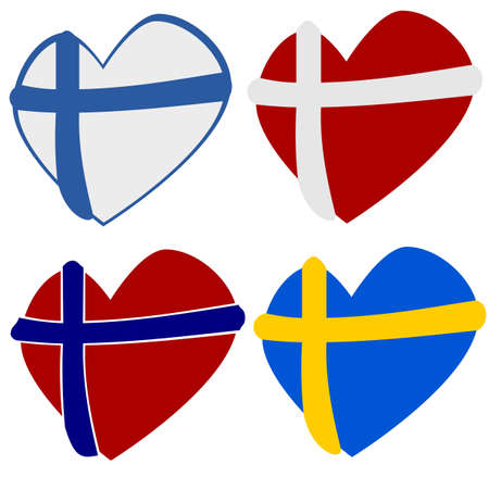 norway flag: Scandinavian heart shapes Illustration