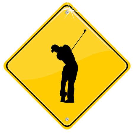 Signo amarillo con un golfista. Vectores