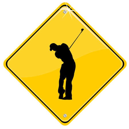 Yellow sign with a golfer Vector