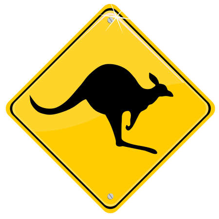 Yellow sign with a kangaroo Vector