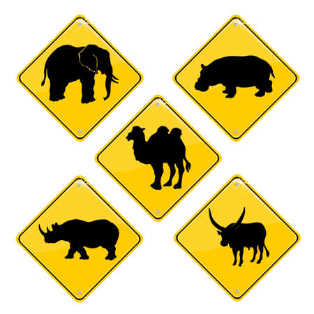 Yellow sign with African animals Stock Vector - 9646468
