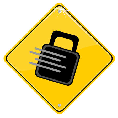 locked icon: Yellow sign with a locked icon