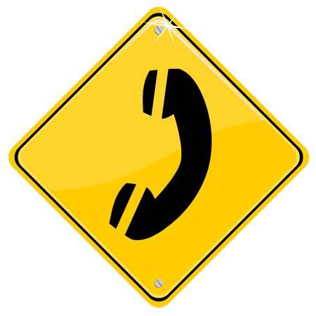 hotline: Gelbes Schild mit einer Hotline-Symbol Illustration