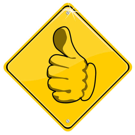 Yellow sign with thumb up Stock Vector - 9781966