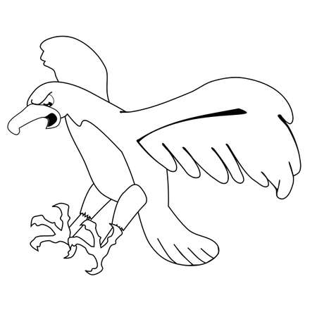 buzzard: Flying eagle, line drawing