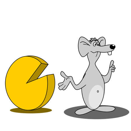 Cute mouse with a big cheese