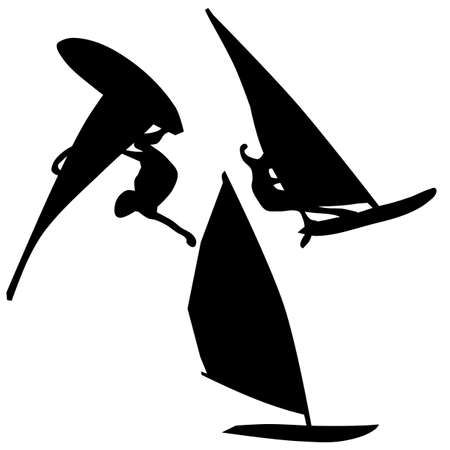 breakers: Illustration of surfer silhouettes