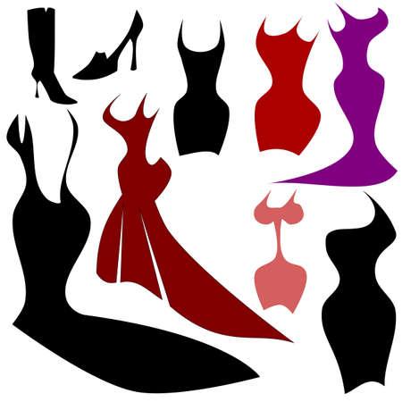 robes de soir�e: Robes, des silhouettes de mode Illustration