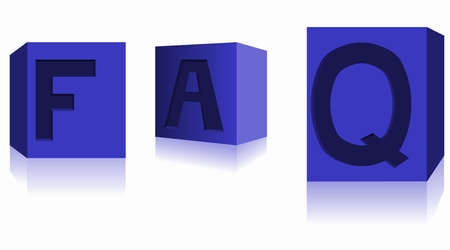 FAQ dices in blue photo