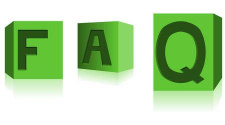 FAQ dices in green