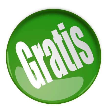 Gratis, Green button in 3d Stock Photo