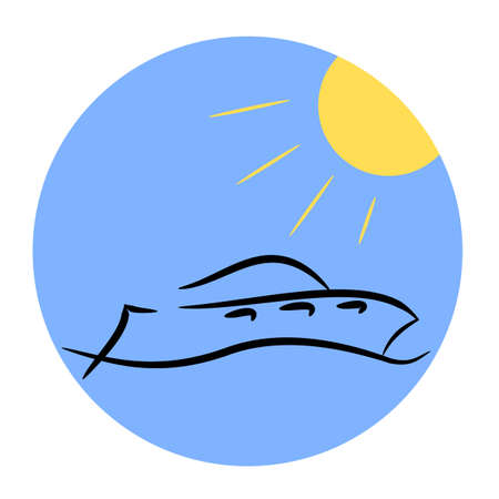 Abstract modern yacht on blue water Vector
