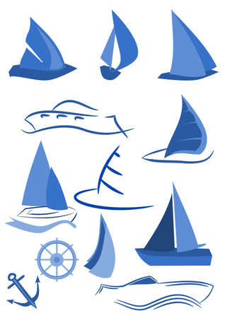 yacht isolated: Marine icons illustration Illustration