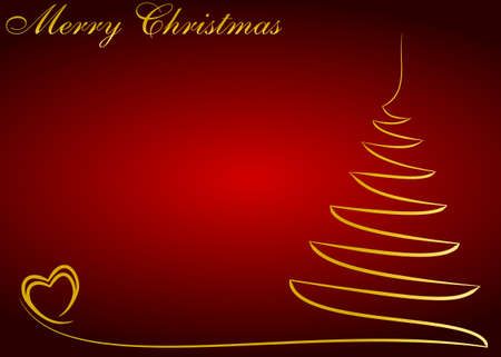 Red Christmas background with golden tree