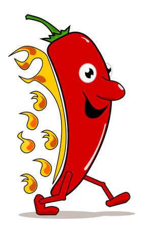 Hot Chili mit Flammen auf weißem Hintergrund Illustration