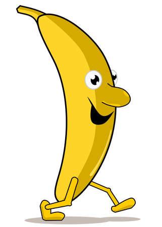 Walking banana isolated on a white background Ilustrace