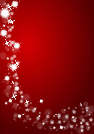 Christmas background in red with glittering stars photo
