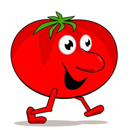 Camminando pomodoro isolato su bianco Vettoriali