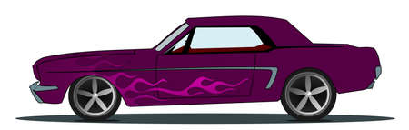 Vintage sports car in modern purple with flames photo