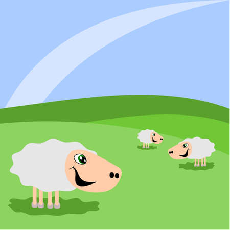 Grazing sheep on a green meadow Vector