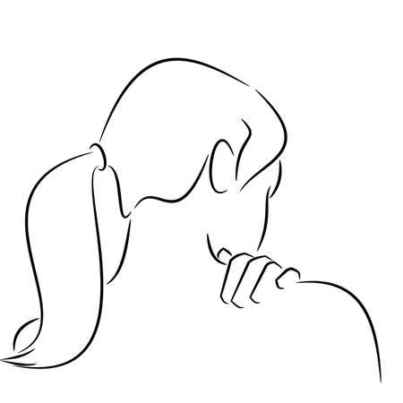 Silhouet van een rug van een vrouw