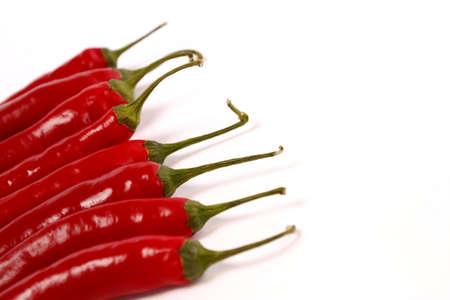 pimientos: Chiles rojos sobre fondo blanco Foto de archivo
