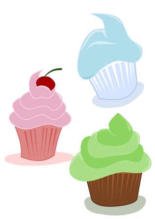 Cupcakes, Cartoon Zeichnung Standard-Bild - 10780606