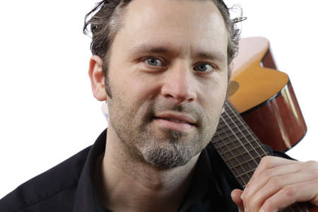 Man with an acoustic guitar photo