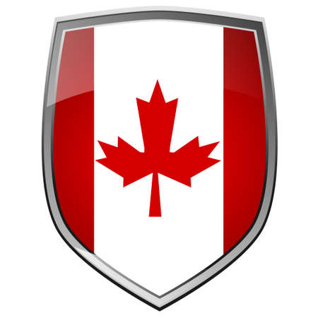 Shield of Canada on white photo
