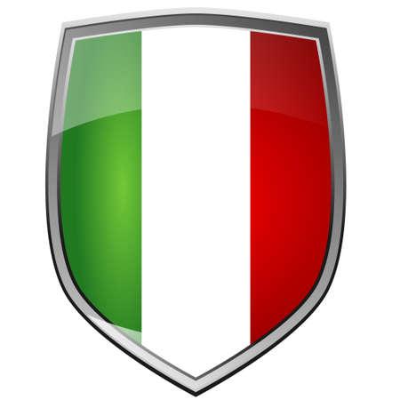 bandera de polonia: Escudo de Italia en blanco Foto de archivo