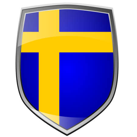Shield of Sweden on white photo