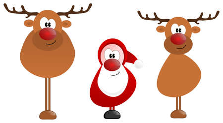 Weihnachtsmann mit Rentier auf einem weißen Hintergrund Standard-Bild