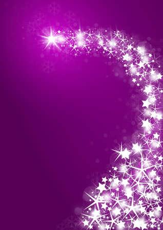 照らす: 明るい星と紫の背景