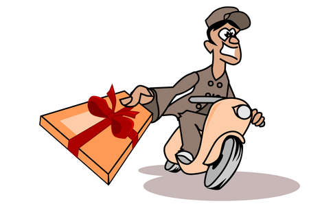Cheerful parcel deliverer with a gift box Vector