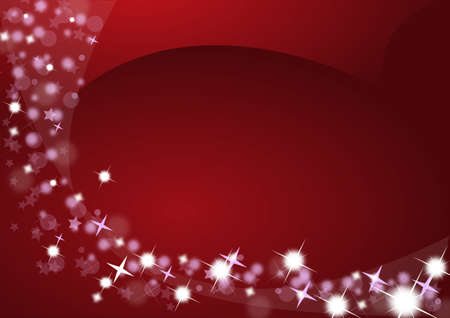 Red Christmas background with bright stars photo