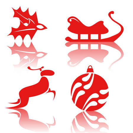 Red Christmas icons photo