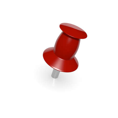 Red push pin on white, 3d image photo