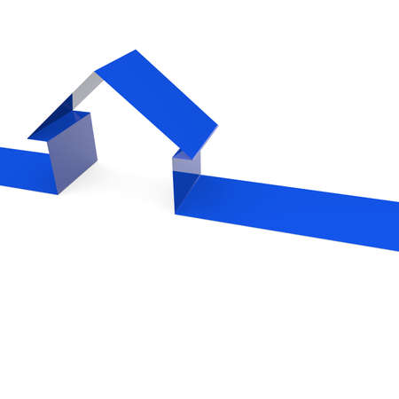 Blue ribbon with a house shape Stock Photo - 11556710