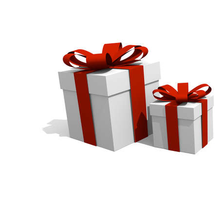 three gift boxes: Christmas presents on a white background, 3D image