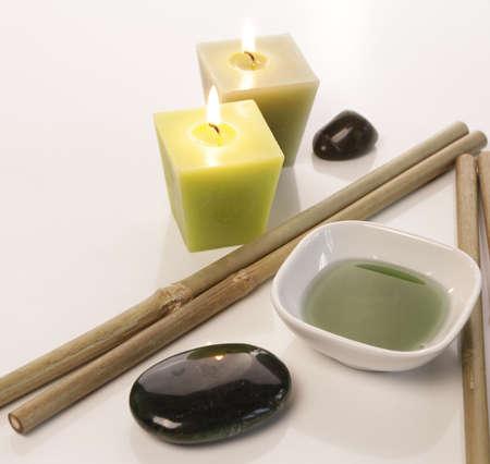 bath additive: Bath additive with bamboo and candle light
