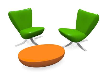 Modern interieur met groene stoelen en een oranje tafel Stockfoto