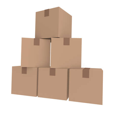 Cardboard boxes, 3D image photo