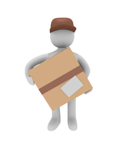 Cheerful parcel deliverer isolated on white, 3D image photo