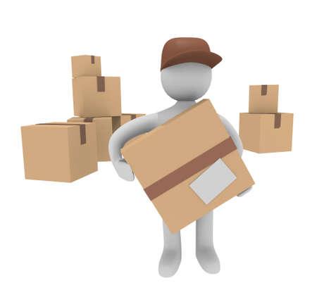 deliverer: Parcel deliverer with cardboard boxes, 3D image