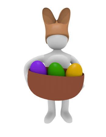 Man with a rabbit hat and Easter eggs, 3D image photo