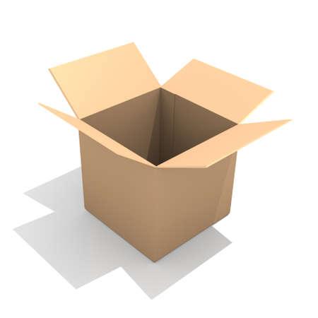 Open cardboard box, 3D image photo