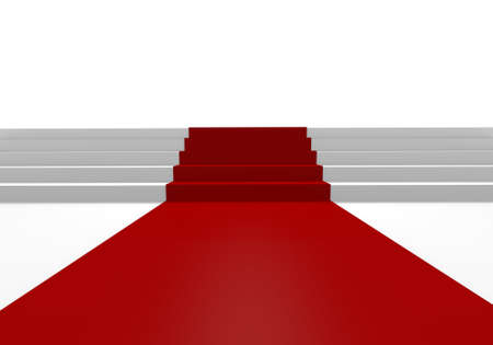 White stairs and red carpet, 3D image photo