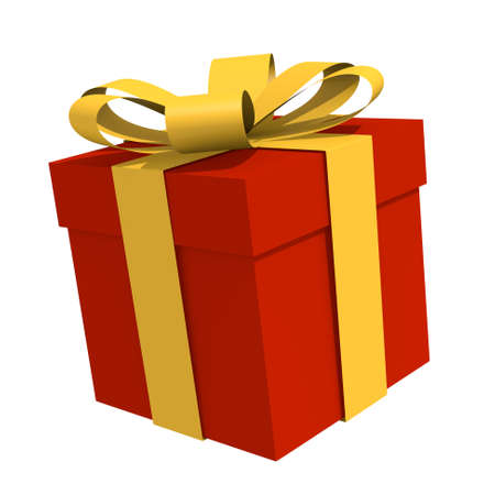 Red gift box with a golden bow, 3D image photo