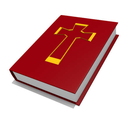Red Bible isolated on white, 3D image photo