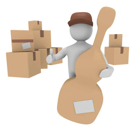 Cheerful deliverer with an instrument parcel, 3D image photo